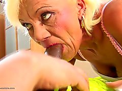 Hairy granny takes anal