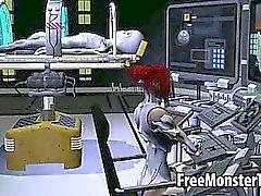 Tasty 3D Redheadfrau Babe wird von einer fremden gefickt