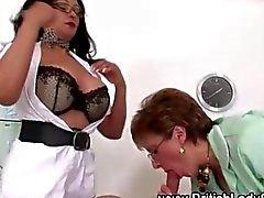 Mature fetish nurses rub the big cock
