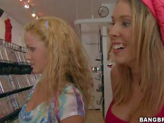 Sluts Sahara Sandy and Nikki have fun in sexy shop