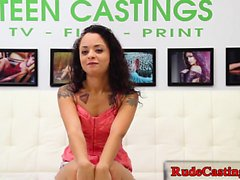 Squirting teen at brutal casting audition