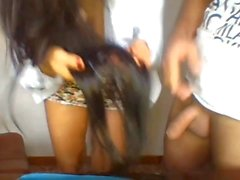 Sexy Brunette Hairjob, Hairplay and Cum in Hair TWICE