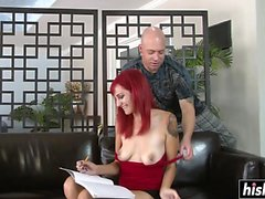 Redhead slut is hungry for anal sex