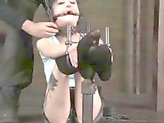 Kinky petite tattood bdsm sub tied up