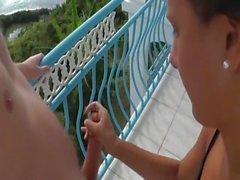 Av på balkongen semesterhus