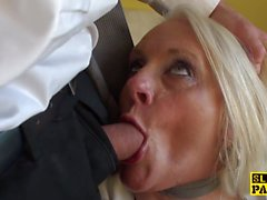 Facefucked british granny fingered in her ass