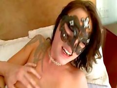 Masked tattooed bitch Chayse Evans has a cock for each hole