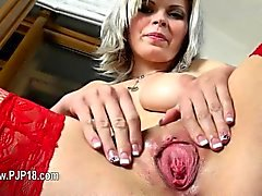 Deep gyno toys in her nasty vagina pussy