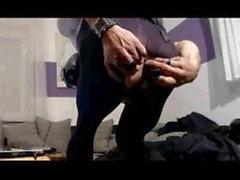 Кожа BDSM Chastity Slut с противогазом, игрушками и манжетами