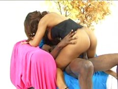 Big butt ebony gets her cunt stretched by huge black cock