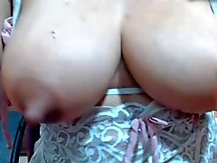 Sexy lactating big nipples licked and pussy spread