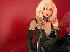 Блондинка Бейб с черной латекса и Балет 01 Популярность Heels