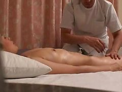 Sexy slender Asian babe gets pleased by a masseur and sucks