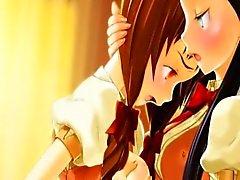 Imagens de anime lesbians grande titted em 3D beijá