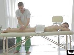 Hot brunette gets fucked during her massage