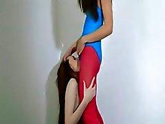 Lésbicas Cabeludo em meia de nylon amando