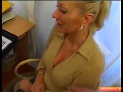 Blonde schoolegirl babe with small boobs does blowjob in pov
