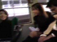 Sedutor, japoneses, meninas, chupar, acariciando, difícil, galo