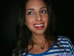 Beautiful Latina teen banged through a gloryhole