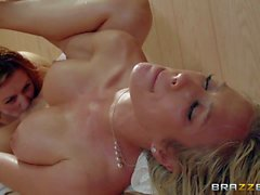 Busty Capri Cavanni gets her Lesbian twat tongue fucked in the sauna