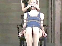 Restrained submissive learning discipline taught by her lezd