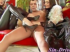 Cfnm femdom queens jerk and blow a stud