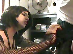 Amateur Crossdresser sucking a young studs cock