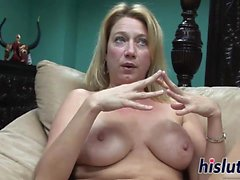 Naughty blonde wench gets to masturbate