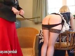Naughty smoking blonde TGirl maid has tight ass spanked as kinky punishment