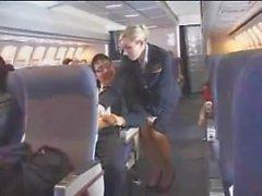 Aereo dello stewardess aiuta con l' masturbation per il volo
