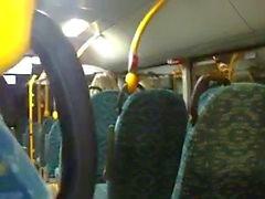 Footjob and handjob in bus