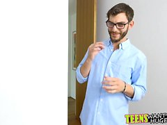 Horny guy teaches teen how to play the flute with his dick