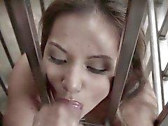 Enjaulado gallo asiático BDSM y la bola de la succión