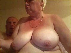Fat old blonde amateur granny spreads her plump pussy wide an gets nailed by hubby