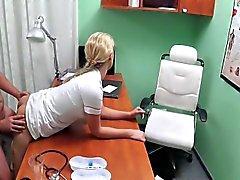 Hot blonde nurse fucking patient in office