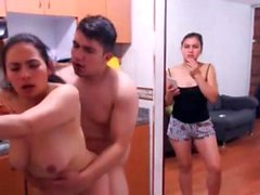 Amatoriale latina FFM trio atto la scena in webcam