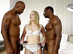 BLACKED Dakota James Screams With 2 Big Black Cocks