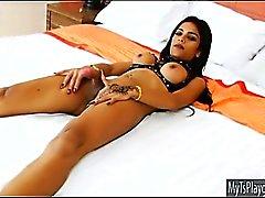 Huge titted tattooed tranny Minty masturbates her cock