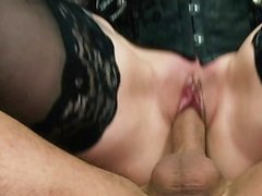Tattooed German MILF milking a big cock