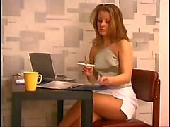 Office sex in pantyhose