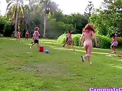 Real sorority skank giving head in the outdoors
