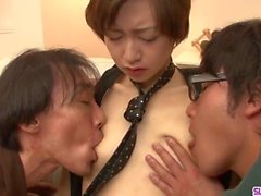 Akina Hara gets two men to fuck her hard