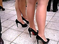 candid high heels and pantyhose
