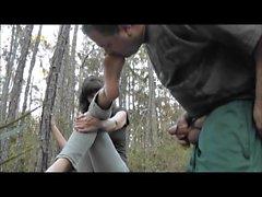 semelles Ejaculation dans les bois