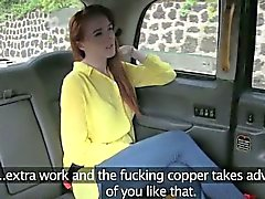 Amateur redhead fucked in the backseat for a free fare