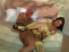 Eva Angelina sucks a massy cock then get bed with it in close up shoot