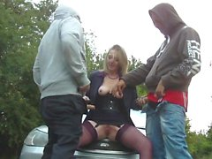 French Gangbang On Chubby Mature