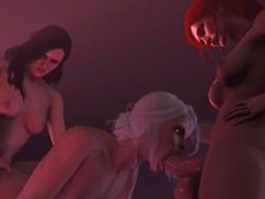 Futa Yennefer x Futa Triss x Ciri Spit Roast Short Loop