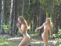 Masha and Sascha Young girls enjoying nature