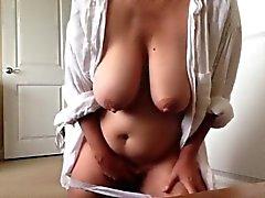 Busty Mom makes her pussy reach an orgasm